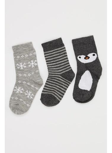 DeFacto Erkek Bebek Soket Çorap  3'lü Gri
